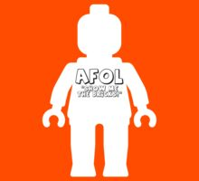 "White Minifig with ""AFOL, Show me the Bricks"" Slogan by Customize My Minifig by ChilleeW"
