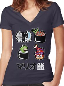 Mario Sushi Women's Fitted V-Neck T-Shirt