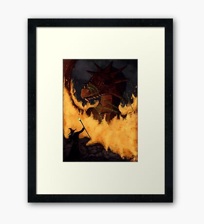 Dragon & Wizard  Framed Print
