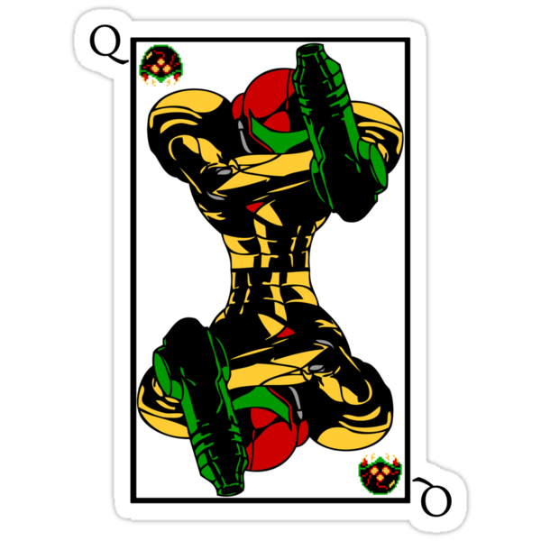 Samus Playing Card Queen by 1up Apparel