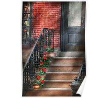 Spring - Porch - Hoboken, NJ - Geraniums on stairs Poster