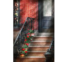 Spring - Porch - Hoboken, NJ - Geraniums on stairs Photographic Print