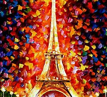 PARIS -EIFEL TOWER LIGHTED - OIL PAINTING BY LEONID AFREMOV by Leonid  Afremov