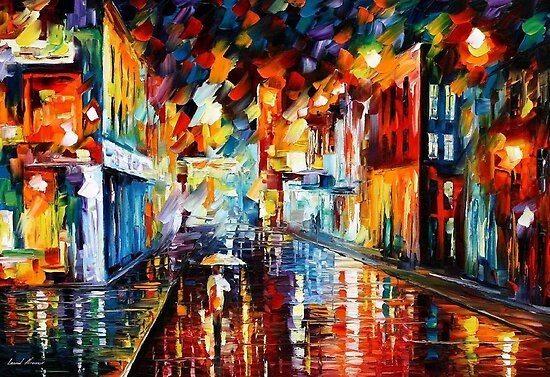 CITY UNDER RAIN - OIL PAINTING BY LEONID AFREMOV by Leonid  Afremov
