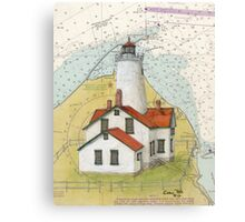 New Dungeness Lighthouse WA Nautical Map Cathy Peek Canvas Print