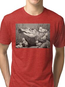 """Gator Gaggle"" Graphite Illustration Tri-blend T-Shirt"