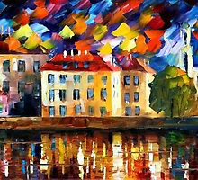 TOWN BY THE RIVERSIDE - OIL PAINTING BY LEONID AFREMOV by Leonid  Afremov