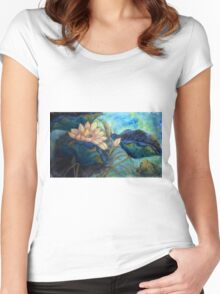 Lotus and frog morning Women's Fitted Scoop T-Shirt