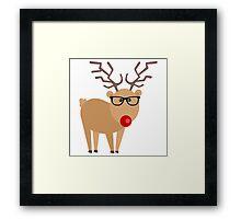 Hipster Rudolph Reindeer Cute Holiday Art Framed Print