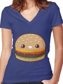 Kawaii Cheeseburger Women's Fitted V-Neck T-Shirt