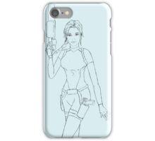 Scuba Lara Croft Outline iPhone Case/Skin