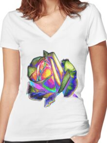 Splendiferous rose design Women's Fitted V-Neck T-Shirt
