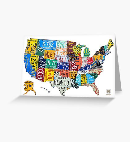 License Plate Map of The United States 2012 Edition 3 on White Greeting Card