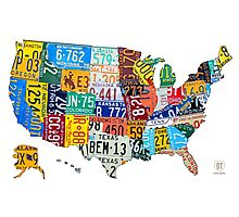 License Plate Map of The United States 2012 Edition 3 on White Photographic Print