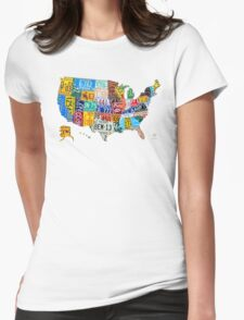License Plate Map of The United States 2012 Edition 3 on White Womens Fitted T-Shirt