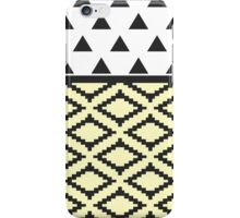 Black, Yellow, & White Triangles and Tribal Shape iPhone Case/Skin