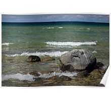 Rocks and Waves on Lake Michigan Poster