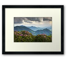 Blue Ridge Appalachian Mountain Peaks and Spring Rhododendron Flowers Framed Print