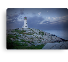 Lighthouse at Peggy's Cove in the Moonlight Canvas Print