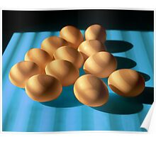 Eggs on Blue Table Poster