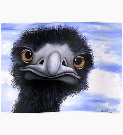 Nosy Emu (6660 viewings as at 15th June 2012) Acrylic painting Poster