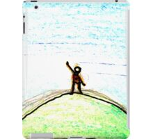 on a green hill waving at blue iPad Case/Skin