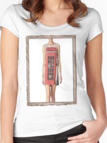 London print - Fashion (telephone box) Women's Fitted Scoop T-Shirt