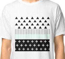 Modern Elegant Mint, Black,  & White Shapes Classic T-Shirt