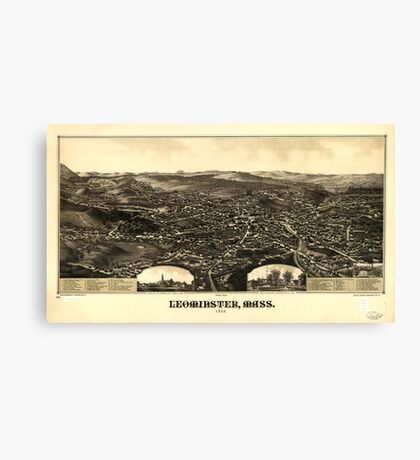 Panoramic Maps Leominster Mass 1886 Canvas Print