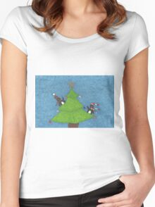 Penguins in a Christmas Tree Women's Fitted Scoop T-Shirt