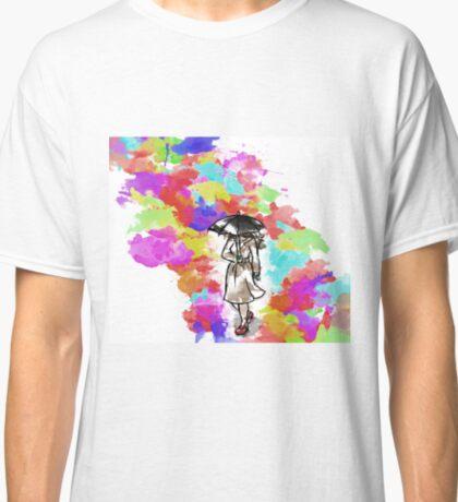 Rainbow Watercolour Rainy Umbrella Classic T-Shirt