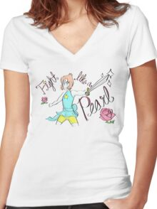 Fight Like A Pearl! Women's Fitted V-Neck T-Shirt