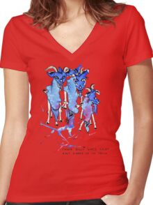 Three Billy Goats Gruff (ain't scared of no troll!) Women's Fitted V-Neck T-Shirt