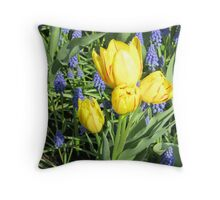 Sunkissed Yellow Tulips and Blue Muscari Throw Pillow