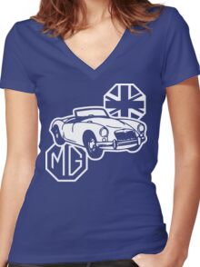 MG MGA Classic British Sports Car Women's Fitted V-Neck T-Shirt