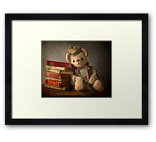Teddy with Books Framed Print