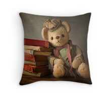 Teddy with Books Throw Pillow