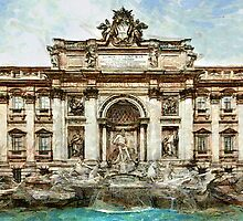 Rome Trevi fountain by Amarok1980