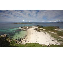Smirisary Beach and the Island of Eilean Coille with Eigg and Rum in the distance. Photographic Print
