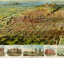 Panoramic Maps Salt Lake City Utah 1891 Sticker