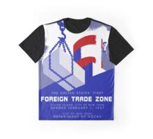 Retro vintage style New York Port Harbor Foreign Trade Zone Graphic T-Shirt