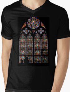 Stained glass window, Notre Dame, Paris Mens V-Neck T-Shirt