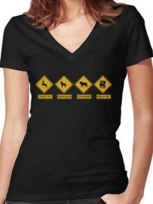 Danger Ahead Women's Fitted V-Neck T-Shirt