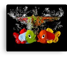 Two Toy Fish Kissing Canvas Print