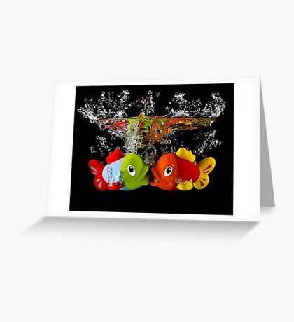 Two Toy Fish Kissing Greeting Card