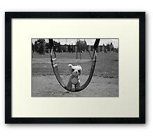 Dog on Swing Framed Print