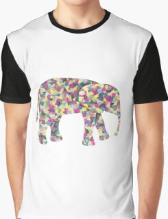 Elephant Collage in Gray Hot Pink Teal and Yellow Graphic T-Shirt