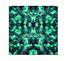 Abstract Surreal Chaos theory in Modern poison turquoise green Art Print