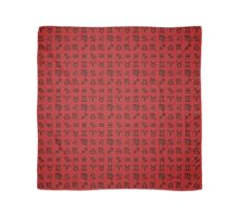 Zodiac Signs Pattern - 12 Astrological Signs Black on Red Scarf