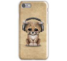Cute Cheetah Cub Dj Wearing Headphones iPhone Case/Skin
